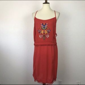 ASOS coral boho dress 20 2X 20w embroidered flower